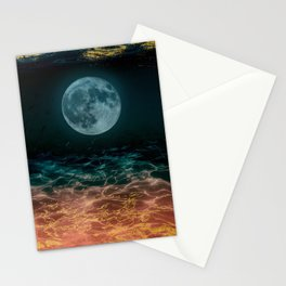 Dreamy Moon under Golden Water Stationery Cards