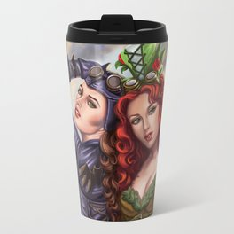 Steampunk Poison Ivy and Batgirl Travel Mug