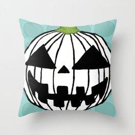 White Pumpkin Jack O Lantern  Throw Pillow