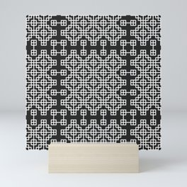 Chinese style grid pattern in black & white Mini Art Print