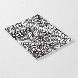 Black white Abstract Paisley doodle geometric pattern Notebook