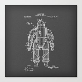 Submarine Armor Patent Black And White Diagram Canvas Print