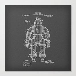Submarine Armor Patent Black And White Diagram Canvas Print