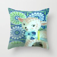lamb Throw Pillows featuring  Lamb by Vintage  Cuteness
