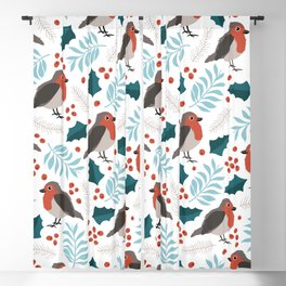 Winter wonderland robin birds and Christmas tree branche magical forest Blackout Curtain