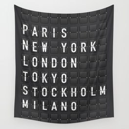 Paris, New York, London, Tokyo, Stockholm, Milano Wall Tapestry