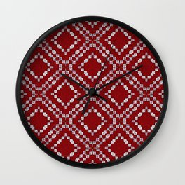 Red and White Multi Square Pattern Wall Clock