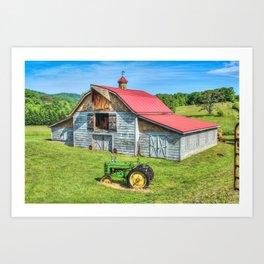Hayesville Barn And Tractor Art Print