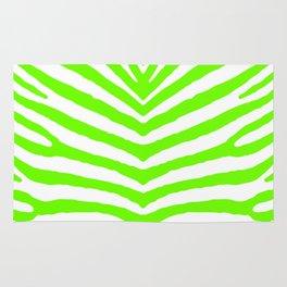 Neon Green and White Tropical Zebra Safari Stripes Rug
