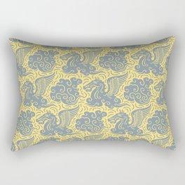 Pegasus Pattern Grey and Yellow Rectangular Pillow