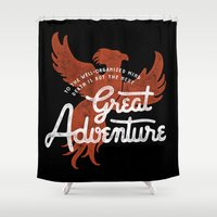 dumbledore Shower Curtains featuring Great Adventure by WEAREYAWN
