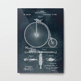 1890 Brake for bicycles patent Metal Print