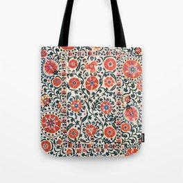 Shakhrisyabz Suzani  Uzbekistan Antique Floral Embroidery Print Tote Bag