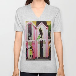 African American Island Scenes (Loin des Yeux - Loin du Coeur) Out of Sight Out of Mind by O. Bulman Unisex V-Neck