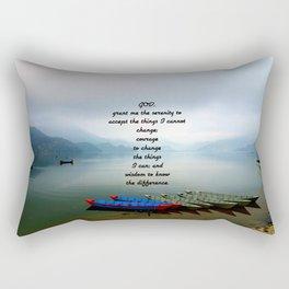 Serenity Prayer With Phewa Lake Panoramic View Rectangular Pillow