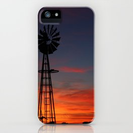Kansas Bright and Colorful Windmill silhouette iPhone Case