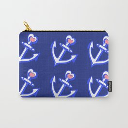 Navy Blue Heart Anchors Pattern Carry-All Pouch