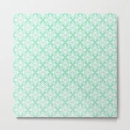 Damask (White & Mint Pattern) Metal Print