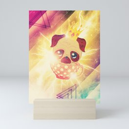 Kawaii pug flying in a cup lightings and starry texture Mini Art Print
