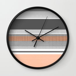 Peach & Cement Structure & Warmth Color Therapy Texture Meditation Lines Wall Clock