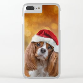 Drawing Dog breed Cavalier King Charles Spaniel  in red hat of Santa Claus Clear iPhone Case