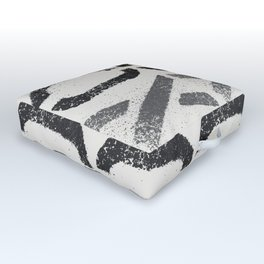 Shapes Of Love - Black White Grey Pattern Outdoor Floor Cushion