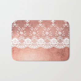 White floral luxury lace on pink rosegold grunge backround Bath Mat