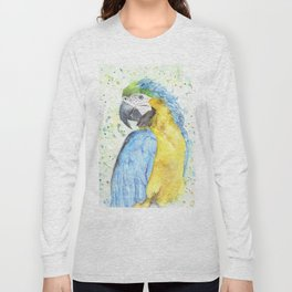 """Watercolor Painting of Picture """"Macaw"""" Long Sleeve T-shirt"""
