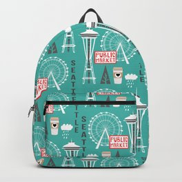 Seattle travel art cute decor for nursery kids room pattern girls or boys Backpack