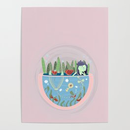 Mermaid in a pond Poster