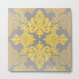 Golden Folk - doodle pattern in yellow & grey Metal Print
