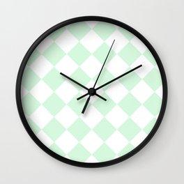 Large Diamonds - White and Pastel Green Wall Clock