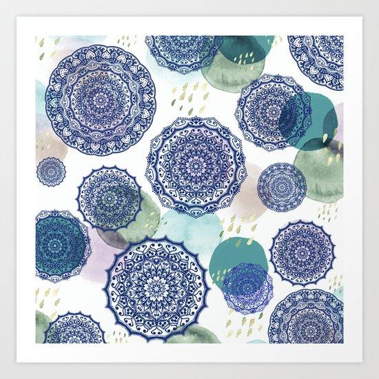 Fall Love Mandala in Blue Art Print