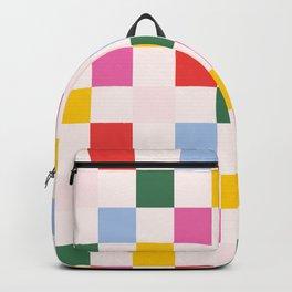 Retro Bauhaus Pattern | Abstract Shapes | Geometric Checks Backpack