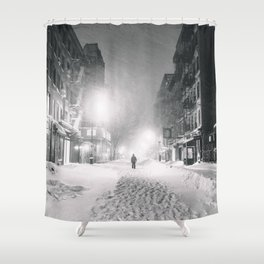 Alone in a Blizzard - New York City Shower Curtain