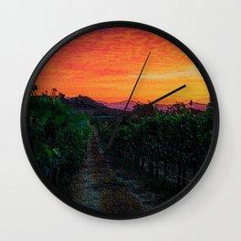 Tuscany Sunrise Landscape by Jeanpaul Ferro Wall Clock