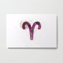 Aries zodiac sign, Horoscope Astrology background, Aries horoscope symbol, pink symbol on white background Metal Print