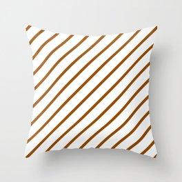 Diagonal Lines (Brown/White) Throw Pillow