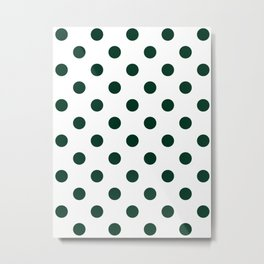 Polka Dots - Deep Green on White Metal Print