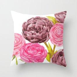 Ranunculus + Peonies Throw Pillow
