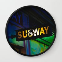 subway Wall Clocks featuring Subway by Mark Spence