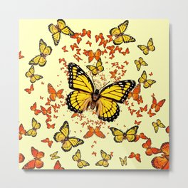 YELLOW & ORANGE MONARCH BUTTERFLIES DANCE Metal Print