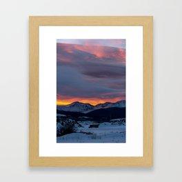 Cold Morning, Fiery Sunrise. Colorado Winter. Framed Art Print