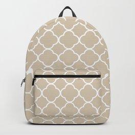 Clover Quatrefoil Pattern: Beige Backpack
