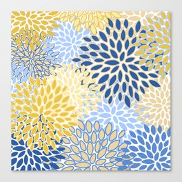 Modern, Floral Prints, Summer, Yellow and Blue Canvas Print