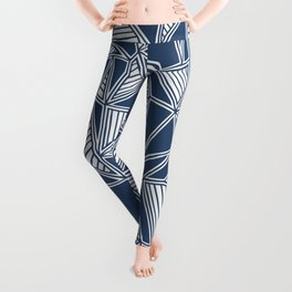 Abstract Outline Lines Navy Leggings