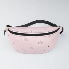 Southwestern Symbolic Pattern in Pale Pink & Charcoal Fanny Pack