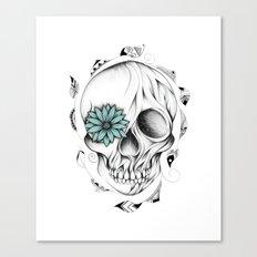 Poetic Wooden Skull Canvas Print