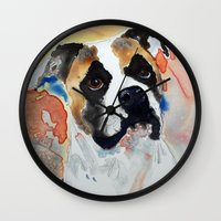 boxer Wall Clocks featuring Boxer by Bowles Fine Paintings