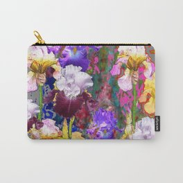 Decorative Spring Grey Iris Yellow & Pink Garden Carry-All Pouch